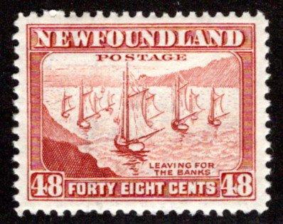 249 NSSC, Newfoundland, 48c, MNHOG, VF/XF, p12.5, Leaving for the Banks,Scott 2