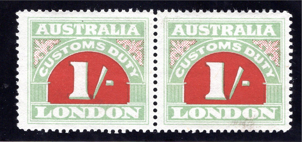 1923 Australia Commonwealth, 1/-, Customs Duty, Pair, MNHOG, p. 11.75, Stone I,