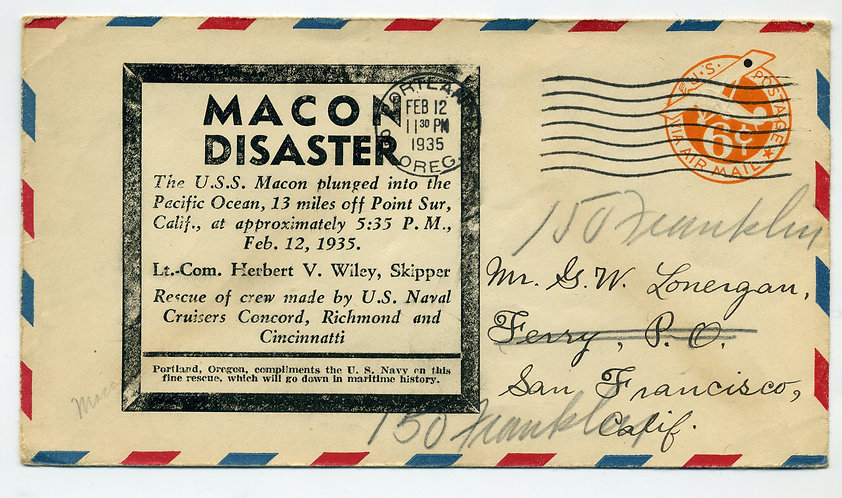 USS MACON Disaster Cacheted Cover, Portland OREG Cancel, L. R. Diesing - Feb 12,