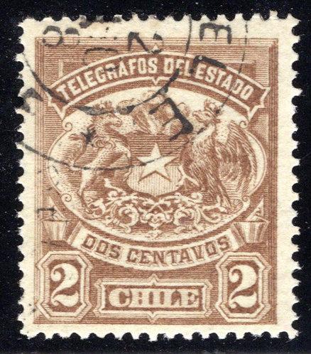 Chile, H1, Type 1, 2c light brown, used, Telegraph / Telegrafos