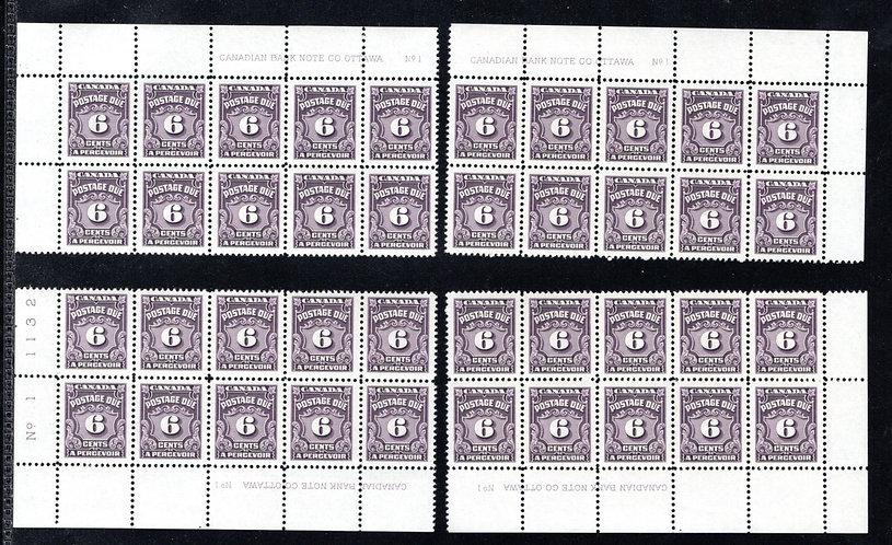 Scott J19, 6c, VF, MNHOG, 4th issue, Set of 4 Plate Blocks of 10, Plate 1, Canad