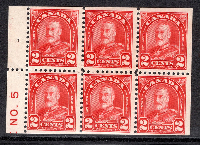 "165biii, Scott, ""pane with tab inscribed NO. 5"", 6 x 2c deep red, MNHOG, F"