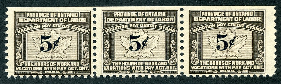 van Dam OV5a (left side of wide gutter pair showing) - 5¢ Ontario Vacati
