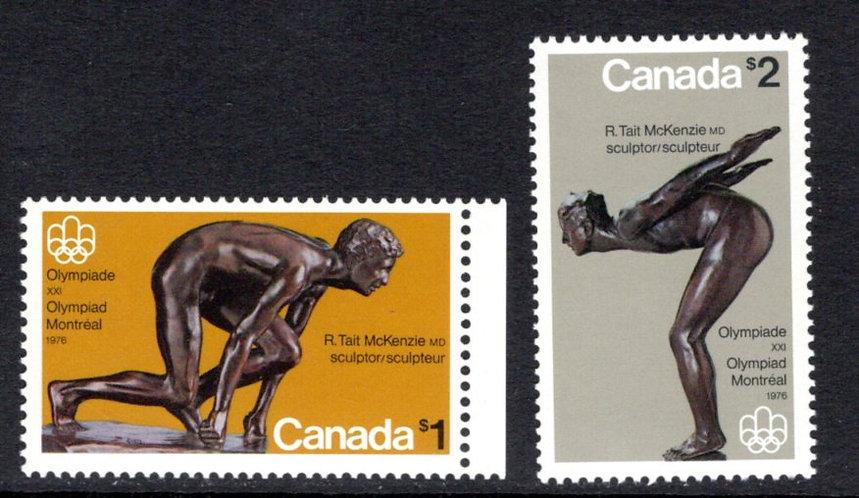 656-657, Scott, Canada, $1 & $2, MNH, singles, Olympic Sculptures