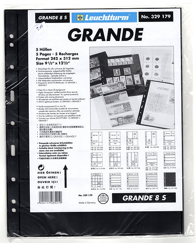 GRANDE 8S sheets - Black - 8 horizontal pockets - Pack of 5 - Lighthouse
