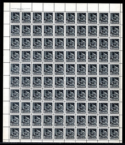 373, Scott, 5c, Canada, Mining, Plate 1, Full Sheet of 100, VF, Postage Stamps