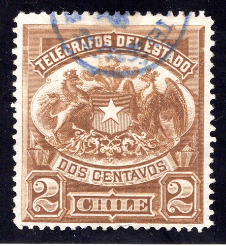 Chile, Telegraph, Type 1, 2c, H1, used, Telegrafos Del Estado
