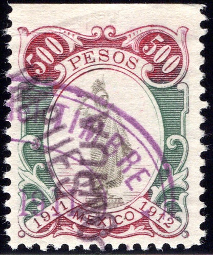 R 332C, MEXICO, 1911-1912 Liberty Standing, some crumpling at top of stamp (see