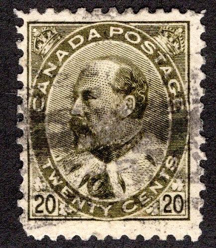 "94 Scott - 20c olive green,F, Used, 1904, ""King Edward VII"", Canada Postage Stam"