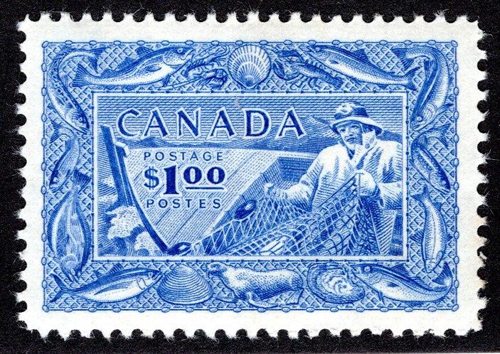 302, MNHOG, VF/XF, Fisherman, Fishing Resources, Canada Postage Stamp