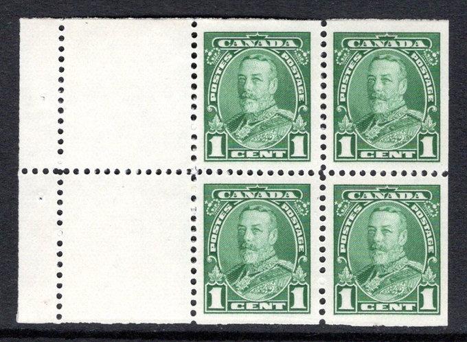 "Scott 217, 1c green, ""Pictorial"" issue, booklet pane of 4x 1c, plus 2 labels, M"
