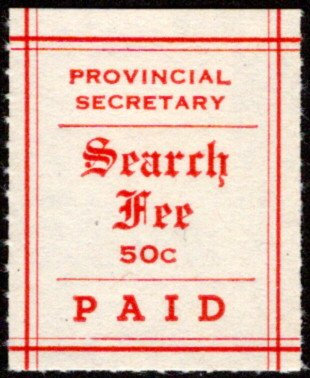 MS5 - 50¢ Manitoba Search Fees - MLHOG - C/V $62.50 incl 25% premium for MNH