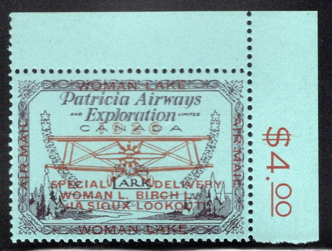"CL18, Canada, ""small v"" variety, 50c, Patricia Airways and Exploration, MNHOG"
