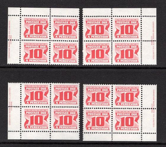 Scott J35a, 10c, VF, MNHOG, 4th issue, Set of 4 Plate Blocks of 4,Canada Postag