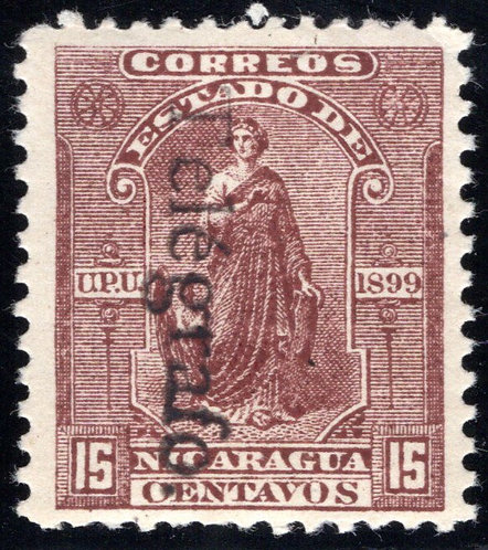 RH69, H69, Type 16,14 - 15c red-brown (reading down), Used - Nicaragua Telegraph