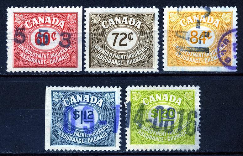 van Dam FU41, FU42, FU43, FU46 and FU47 - Used - C/V $8 - 1955 Issue Unemploymen