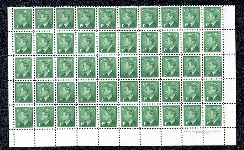 "Scott 284, half sheet, plate #2, MNHOG, KGVI with ""postes/postage"", 1c, 50 stamp"