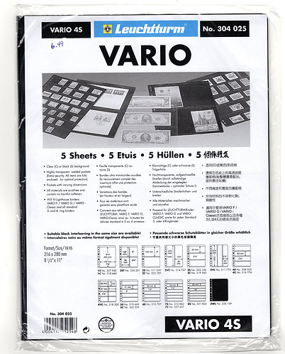 VARIO 4S Stamp Sheets (4 divisions) BLACK