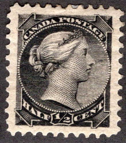 34 Scott - 1/2c black, VF/XF, MHOG, Small Queen Issue, Canada Postage Stamp