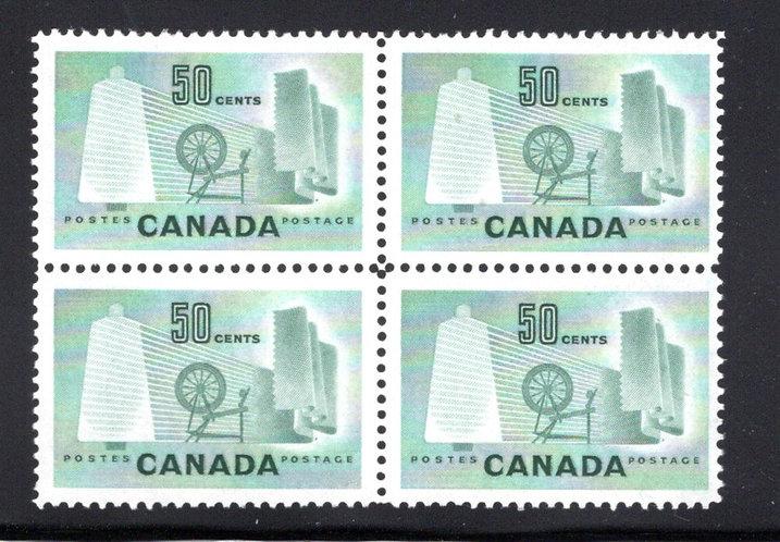 Scott 334, 50c light green, MNHOG, Block of 4, Textile Industry,Canada Postage