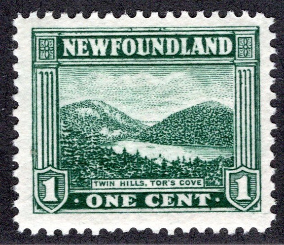123, NSSC, Newfoundland, 1¢ Twin Hills, green,MLHOG, VF,postage stamp