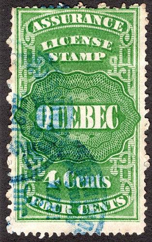 QA4, van Dam, 4c green, Canada, Quebec, License Assurance, VG/F, Revenue Stamp