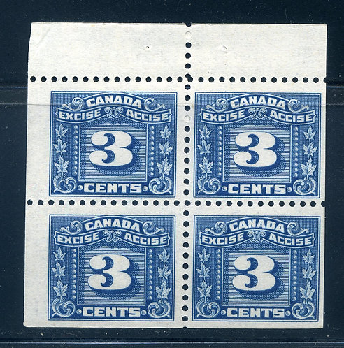 van Dam FX64a - 3c Blue - Booklet Pane of 4 - Top two are MH, Bottom two are MNH