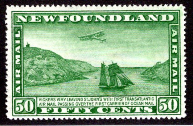 AM11, NSSC, Newfoundland, 50c, Air Mail, F/VF, MLHOG, p. 14.3, Airplane and Pack
