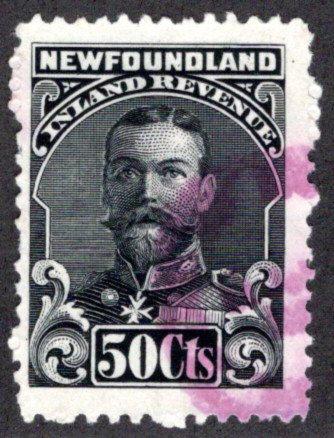 "R24, NSSC - Used - 1910 George V - 50c black - Inland Revenue - ""No Imprint"""
