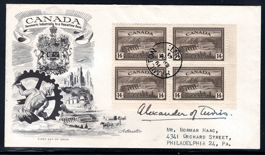 270 FDC, LR, Blank Corner Block, 14c Hydroelectric Station, Addressed, Cachet