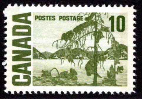 462piv, Scott,10c, LF, W2B, PVA, Jack Pine, MNHOG, Canada PostageStamp