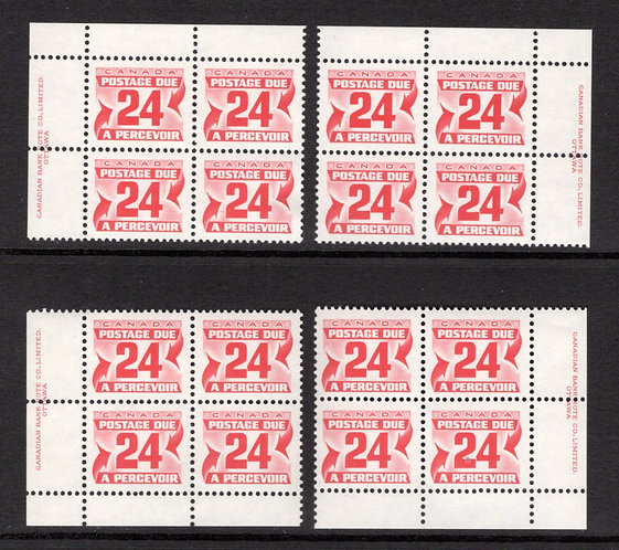 Scott J39, 24c, VF, MNHOG, 4th issue, Set of 4 Plate Blocks of 4, Canada Postage