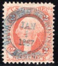 "R6c - 2c - Bank Check - Orange, Perf, SOTN ""Bank of the Metropolis Jan 1 1867"","