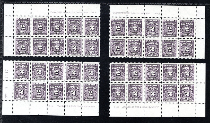 J16, Scott, 2c, VF, matched plate block set, P2, 4th issue, MNHOG, Canada Postag