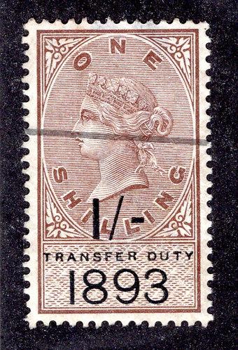 GB - Transfer Duty - 1 shilling - 1893 -Victoria- revenue used