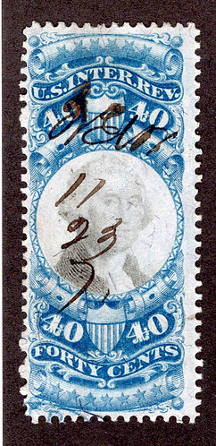 R114 - 40c -Blue and Black - US Second IssueRevenue - M/S cancel
