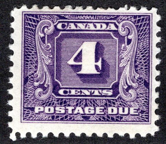 J8, Scott, 4c, F, 2nd issue, MLHOG, Canada Postage Due