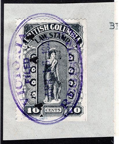 van Dam BCL22b, perf x roulette, 10c,British Columbia Law Stamp - Fifth Series