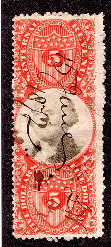 R148 - 3rd issue - $5 Manifest - Red - Citrcular Cut and M/S Cancels