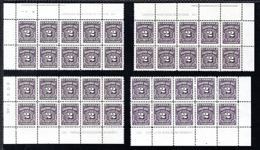 Scott J16, 2c, VF, MNHOG, 4th issue, Set of 4 Plate Blocks of 10, Plate 1