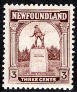 "125, NSSC, Newfoundland, 3¢ ""The Fighting Newfoundlander"" War Memorial"
