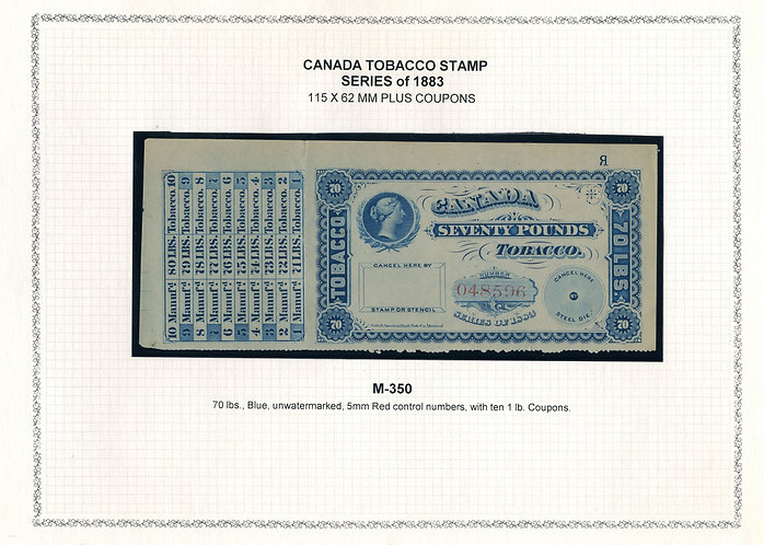 Ryan RM306a -Brandom M350- 70lbs Blue - Series of 1883 Coupon Stamps