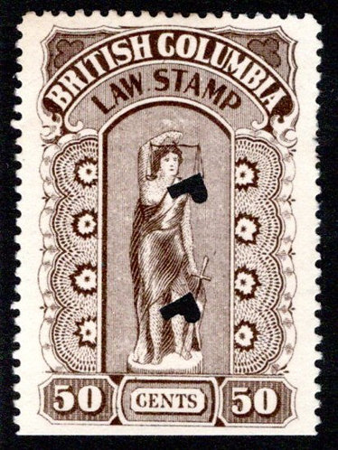 "van Dam BCL25f, ""."" between LAW and STAMP variety, 50c brown, used, BC Law Stamp"