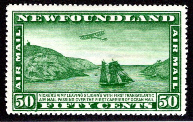 AM8b, NSSC, Newfoundland, 50c, Air Mail, F/VF, MLHOG, Airplane and Packet Ship