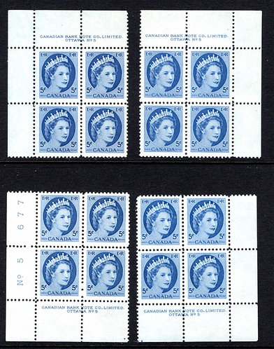 "341, Scott, ""QEII Wilding"", 5c, PB5, Matched Set of 4 Plate Blocks,MNHOG, VF"