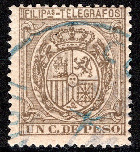 Philippines / Filipinas, H77, 1P olive-grey, 1896, used, Telegraph Revenue Stamp