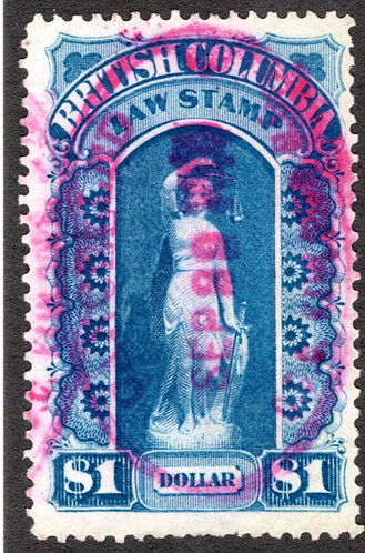 BCL4, $1, blue, used, British Columbia Law Revenue Stamp, 1st issue