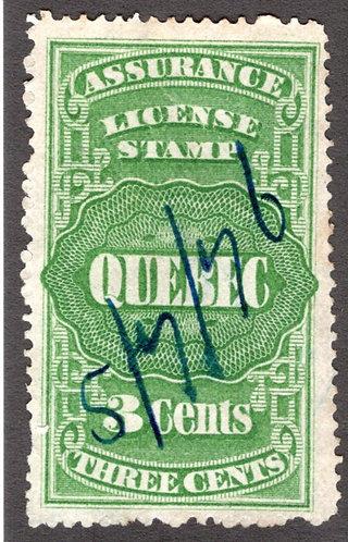 QA3, van Dam, 3c green, Canada, Quebec, License Assurance, VF/EF, Revenue Stamp