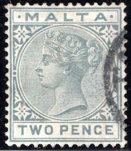 10 Malta, 2p Gray, wmk. 2, p.14, used, EF/XF