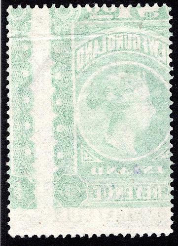 R6b, heavy offset, $1 green, VF, Inland Revenue, 1898, Queen Victoria, Newfoun